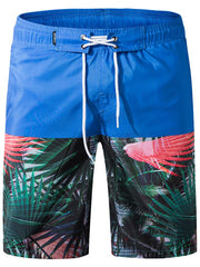 Drawstring Leaves Print Panel Board Shorts