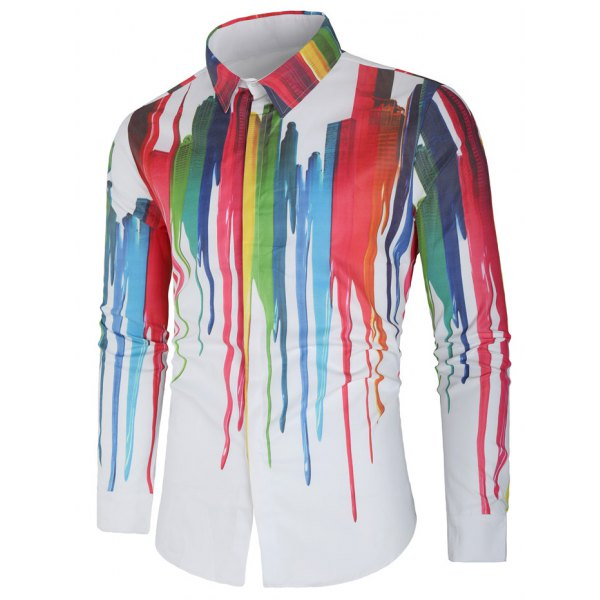 Vertical Splatter Paint Long Sleeves Shirt