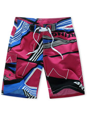 Striped Geometry Print Side Pocket Board Shorts