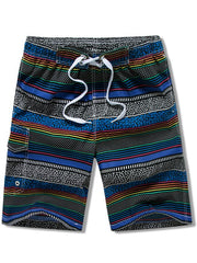 Stripes Print Elastic Drawstring Board Shorts
