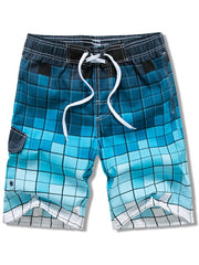 Plaid Print Drawstring Board Shorts