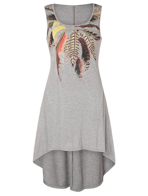 Plus Size Feather Print High Low Dress
