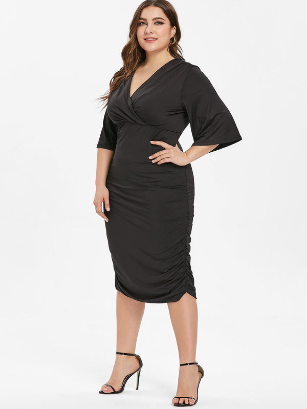 Plus Size Plunge Bodycon Knee Length Dress