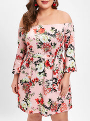 Plus Size Floral Print Off The Shoulder Shift Dress