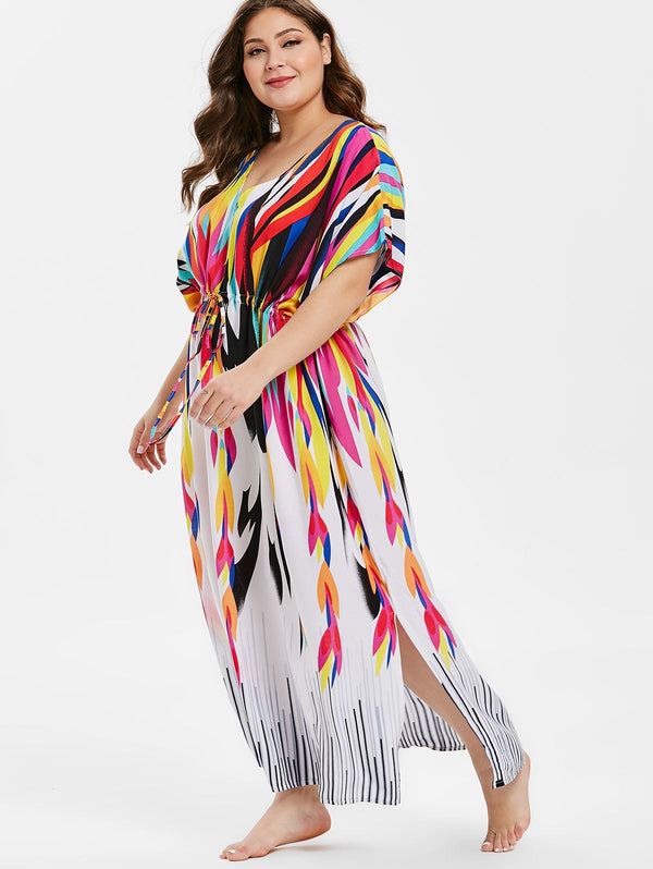 Plus Size Drawstring Waist Printed Cover Up