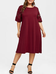 Half Sleeve Plus Size Shift Dress