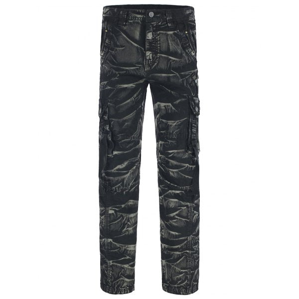 Cotton Blends Camouflage Pockets Design Zipper Fly Cargo Pants
