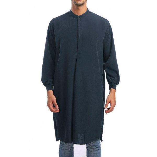 Solid One Button Long Shirt