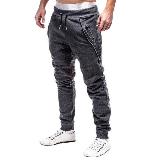 Zip Embellished Casual Sport Jogger Pants