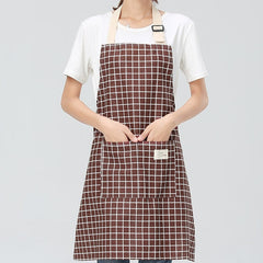 Fashionable women's adjustable cotton flax Kitchen Apron