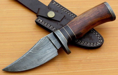 Custom Handmade Damascus Steel Hunting Knife with Rose Wood Handle