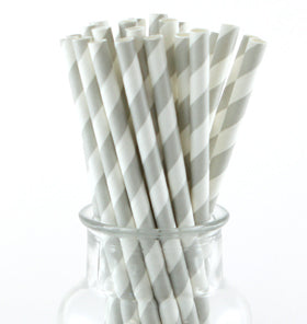 Grey Striped Paper Straws (Pack of 24)