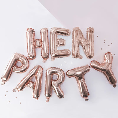 Rose Gold Hen Party Balloon Bunting