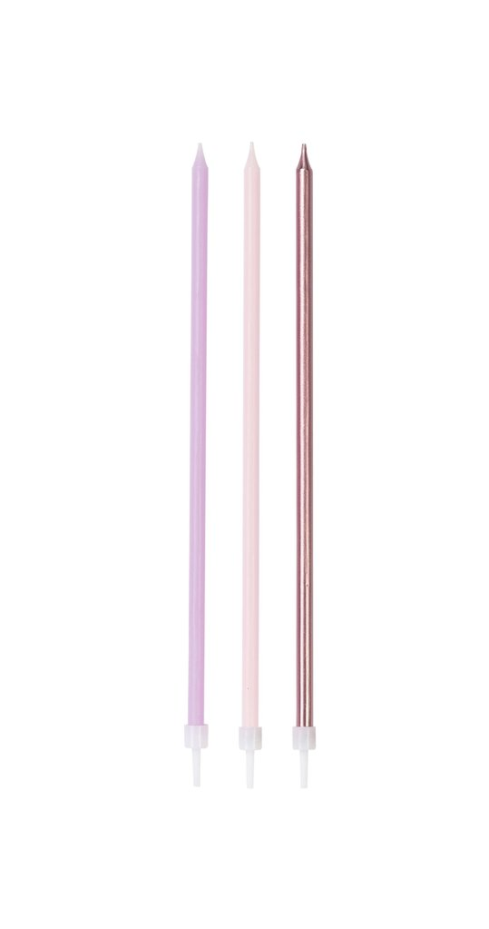 Party Porcelain Rose Gold Long Candles (Pack of 16)