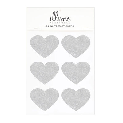 Silver Glitter Heart Sticker Seals (Pack of 24)