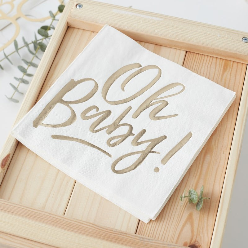 Oh Baby Gold Foiled Napkins (Pack of 16)