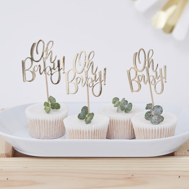 Oh Baby Gold Cupcake Toppers (Pack of 12)