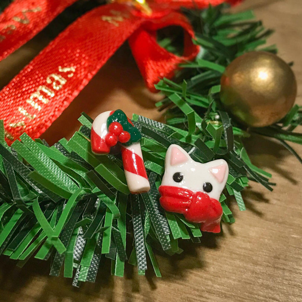 Christmas Snow Cat x Candy Cane Ear Studs