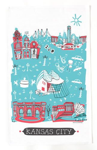 Kansas City Tea Towel-Red-Turquoise