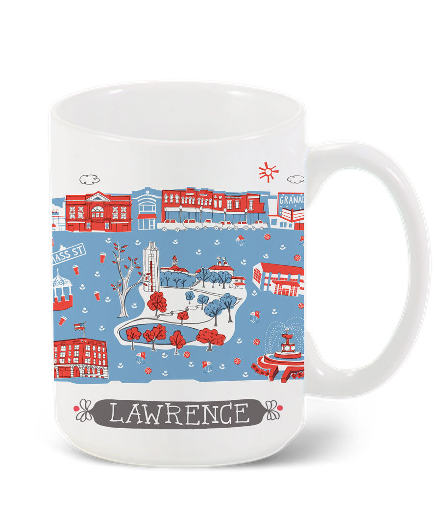 Lawrence Mug-Custom City Mug-KU Mug-Grad Gift