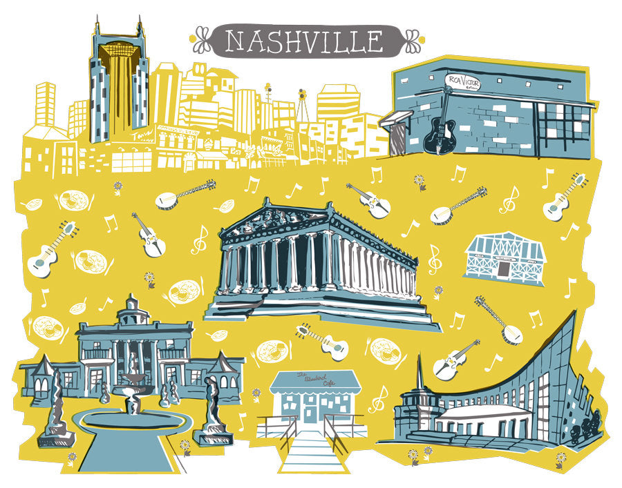 Nashville Tennessee Wall Art-Custom City Print