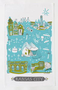 Kansas City Tea Towel-Turquoise-Olive Green