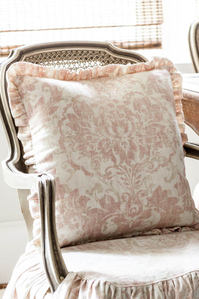 Blush Pink Pillow Cover with Ruffle