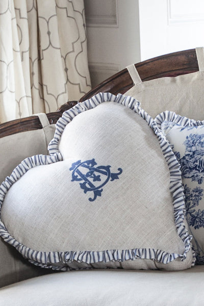 Monogram Boxed Heart Pillow with Ticking Ruffle - Blue