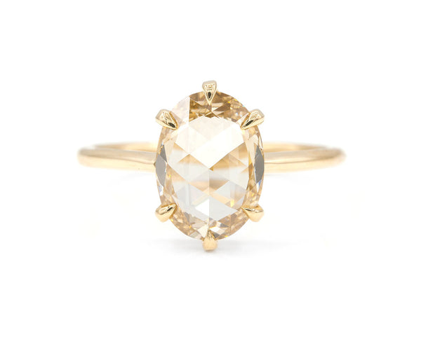 Everett Fine Jewelry 2.26-Carat Champagne Rose Cut Oval Solitaire