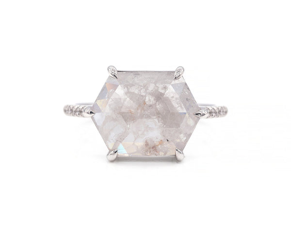 Everett Fine Jewelry 3.68-Carat East West Grey Hexagon Ring