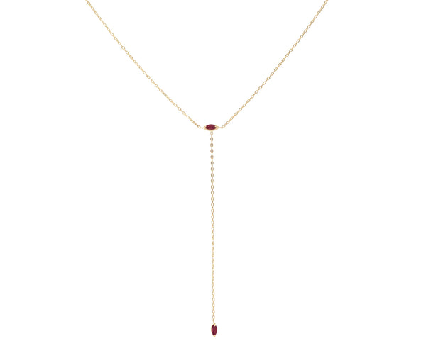 Everett Fine Jewelry Blue Hour Ruby Lariat Necklace