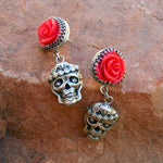 Red Rose Mi Vida Loca Skull Earrings