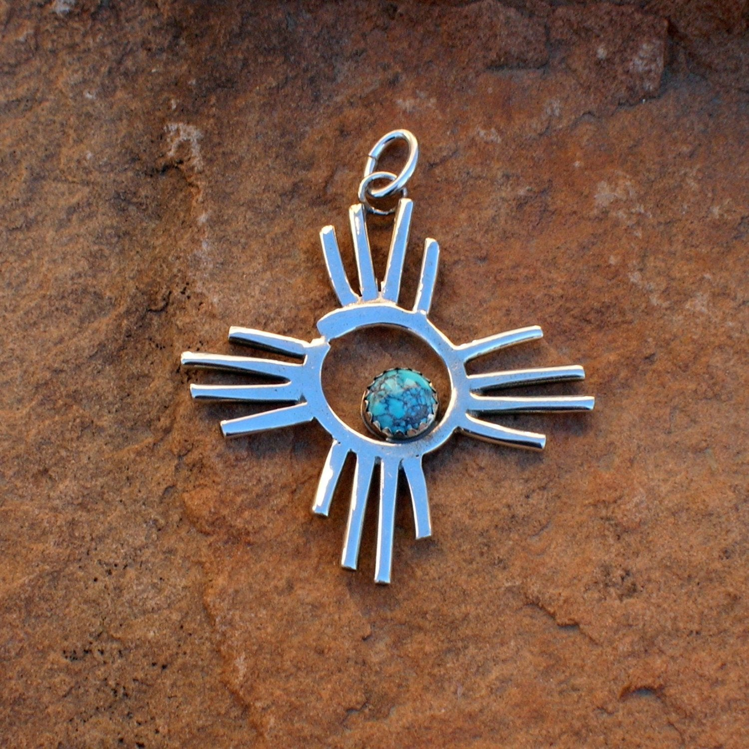 Petroglyph Drawing Zia Pendant or Pin Exclusive Original Design