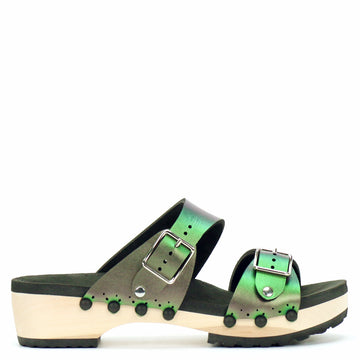 Low Clog Buckle Toe Mule in Emerald - Mohop