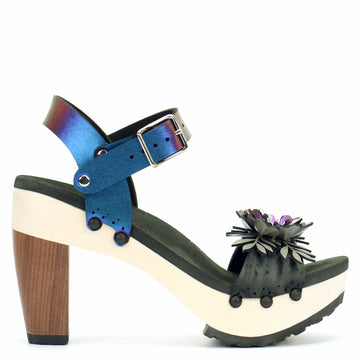 High Heel Flower Toe Ankle in Midnight and Peacock - Mohop