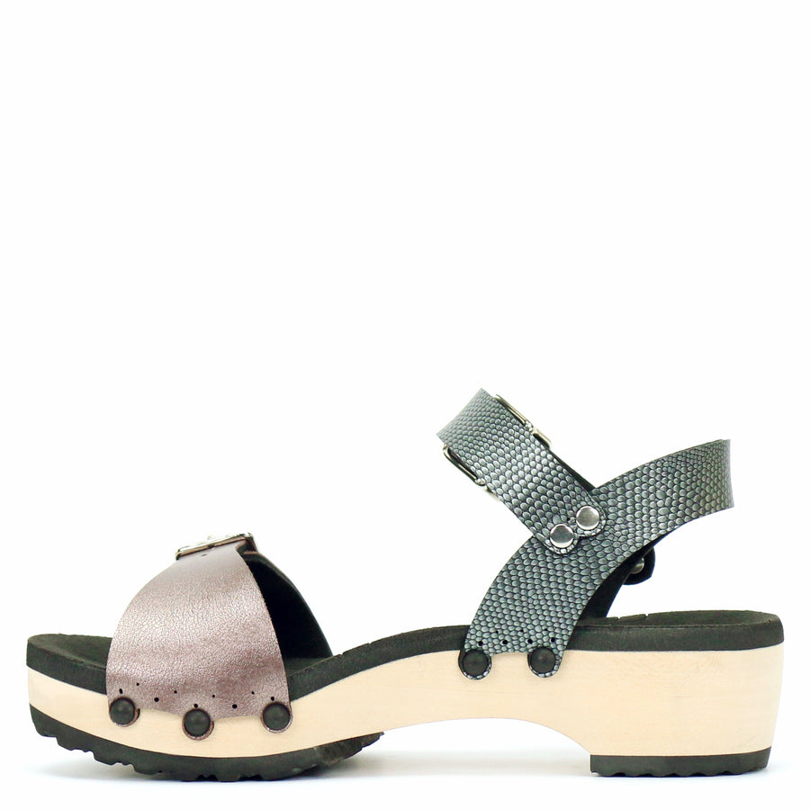 Low Clog Buckle Toe Ankle in Rose and Pewter - Mohop