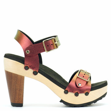 High Heel Buckle Toe Ankle in Ruby - Mohop