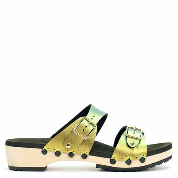 Low Clog Buckle Toe Mule in Scarab - Mohop
