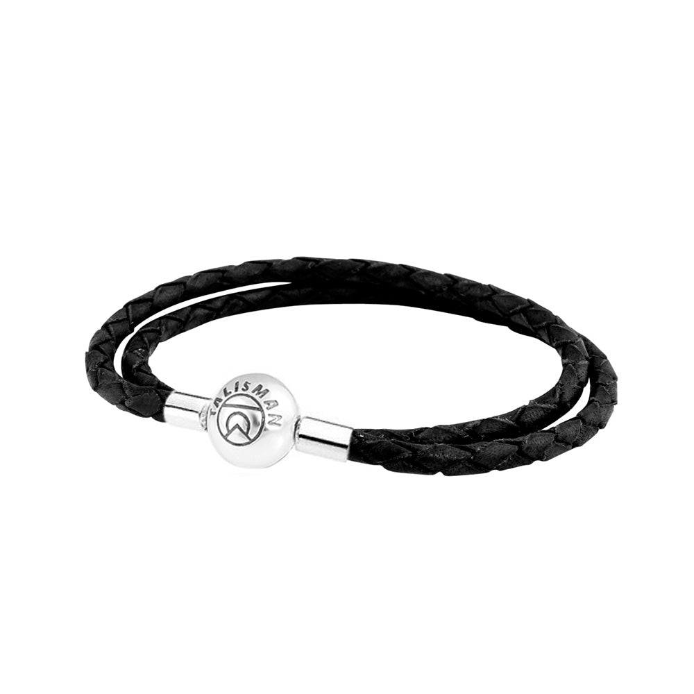Essence Braided Leather Bracelet - Black