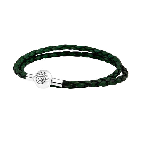 Essence Braided Leather Bracelet - Green