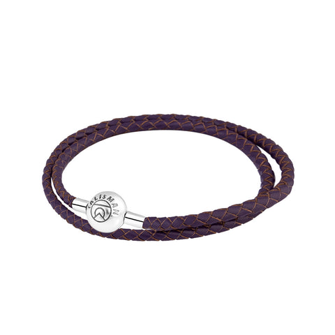 Essence Braided Leather Bracelet - Purple