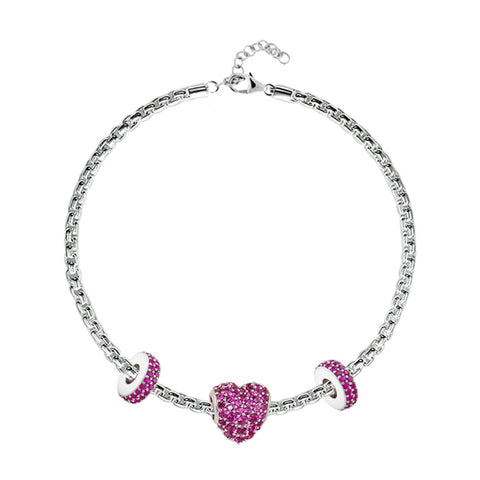 Red Pavé Heart Charm Bracelet
