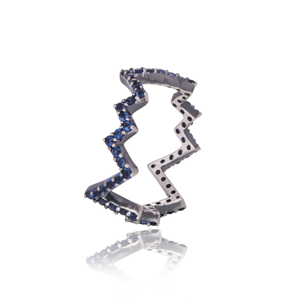 Thunderbolt Blue Pave' Ring