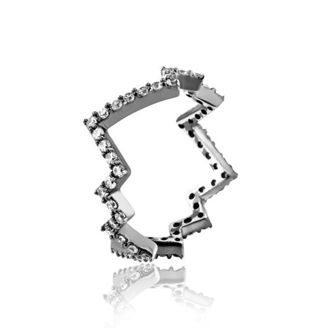 Thunderbolt White Pave' Ring