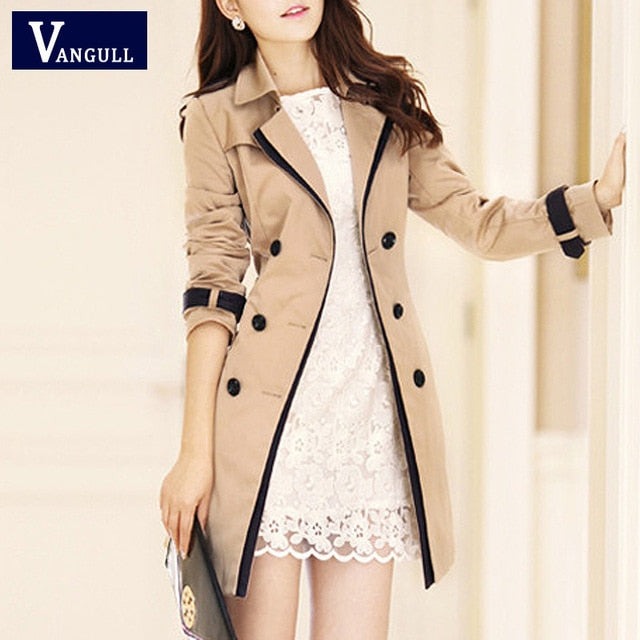 VANGULL Turn-down Collar Trench Coat - Evoke Direct