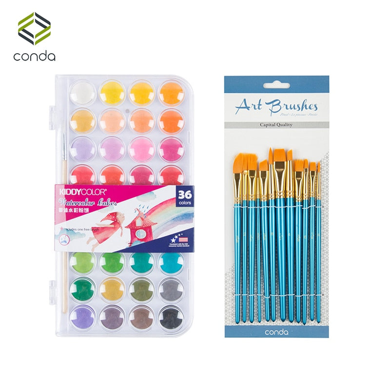 36 Solid Watercolor Cake and 12 Brush Set