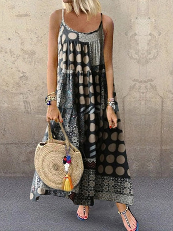 Mostata Boho Women Dresses Shift Daytime Casual Printed Mexican Dresses