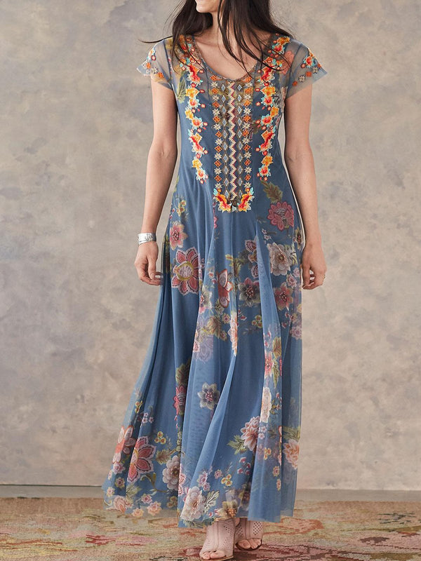 Mostata Bohemian Blue Embroidered Sweet Mexican Dresses