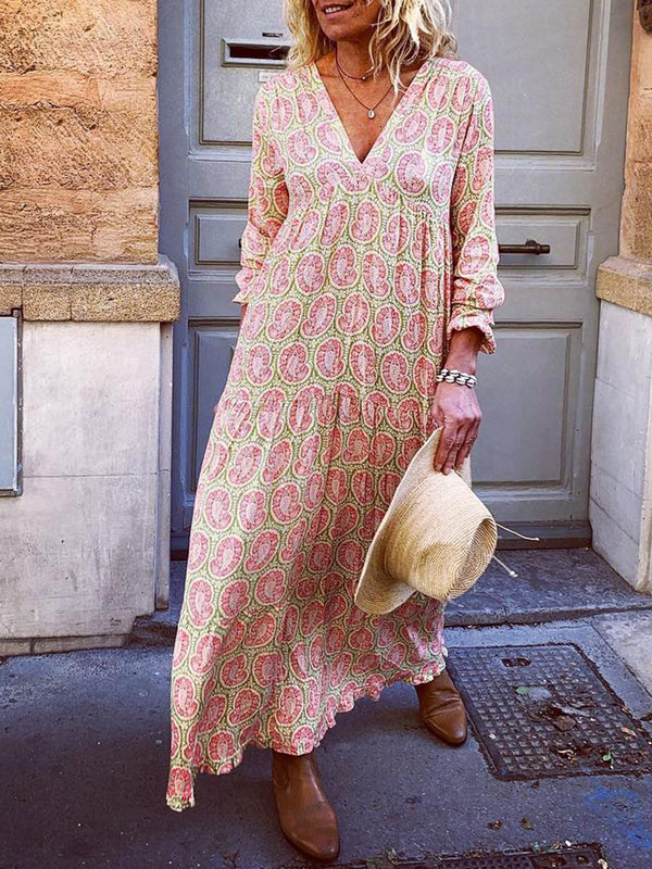 Mostata Bohemian V Neck Pink Women Dresses Holiday Holiday Floral Dresses
