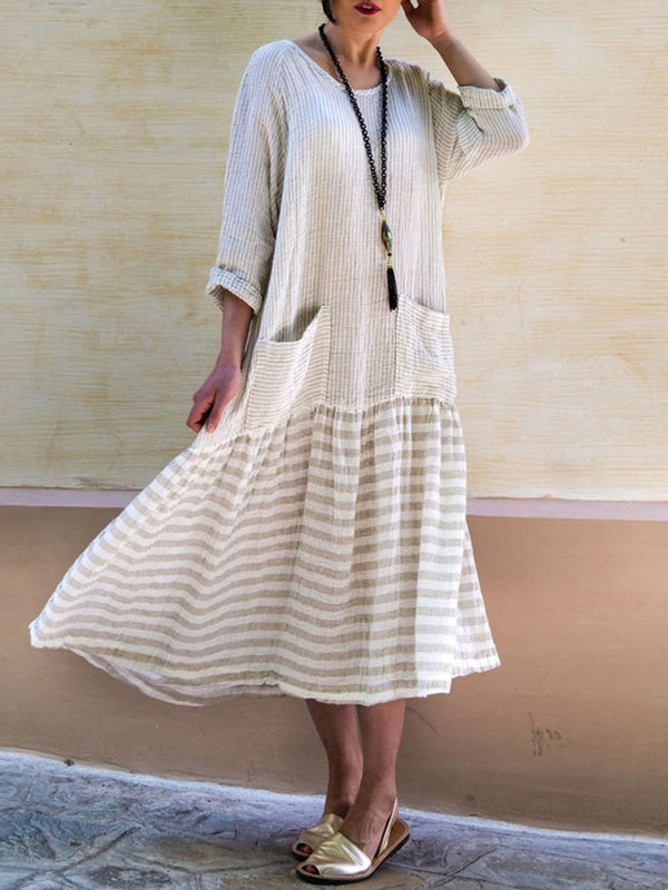 Mostata Crew Neck Women Fall Dresses Daily Casual Cotton Dresses